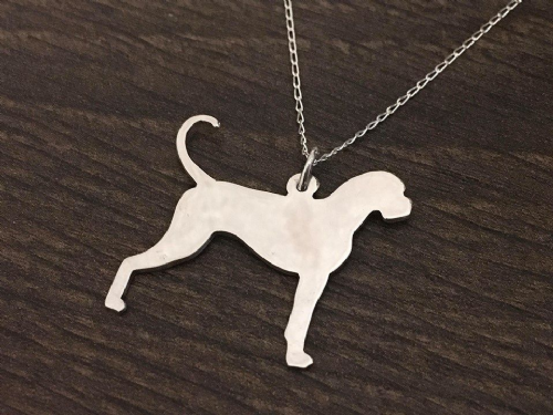 Boxer natural tail dog silhouette pendant sterling silver handmade by saw piercing Caroline Howlett Design